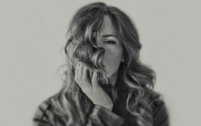 depth of field, face, girl, freckles, monochrome, wavy hair