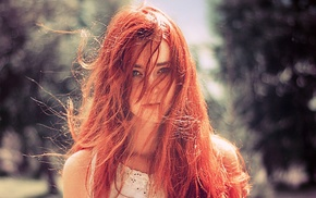 hair in face, girl, face, redhead
