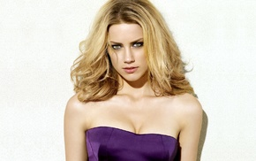 eyes, cleavage, closeup, white background, dress, Amber Heard, blonde, purple, face