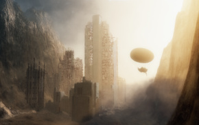 apocalyptic, sunlight, ruin, destruction, mountain, fantasy art