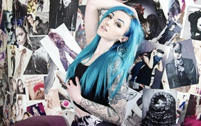 poster, tattoo, hands on head, blue hair, Suicide Girls