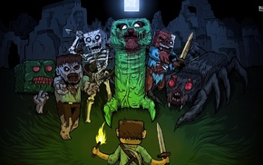 spider, Steve, creeper, Minecraft, video games, zombies
