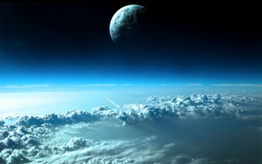 clouds, moon, Earth, space