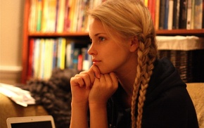 blonde, braids, girl