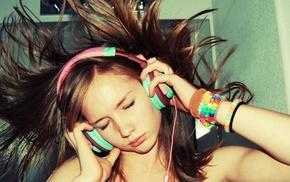 closed eyes, brunette, headphones, music