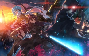 Sword Art Online, anime girls, Kirigaya Kazuto, sword, gun, Asada Shino