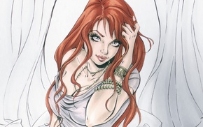 Mary Jane, redhead, artwork, girl