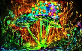 psychedelic, colorful, mushroom