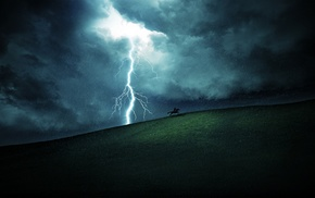 fantasy art, horse, rain, horse riding, lightning