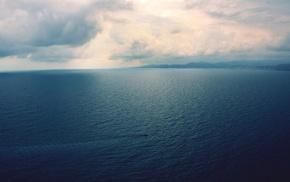 море, облака, лодка