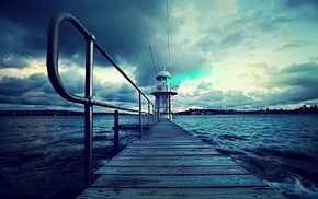 lighthouse, nature, water