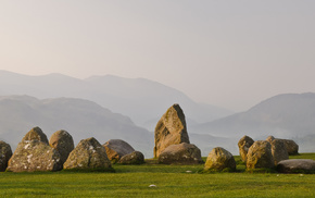 greenery, grass, stones, mountain, nature