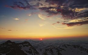 горы кордильеры, солнце, природа, закат, небо