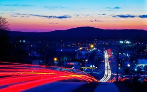 city, cities, evening, road, lights