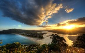 view, sunset, evening, height, Sun