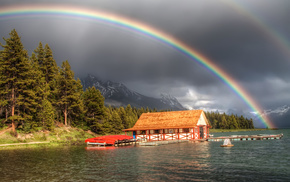 river, mountain, nature, rainbow, forest