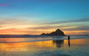 пляж, вечер, закат, пара, красивые, Прогулка