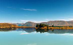 reflection, sky, trees, lake, mountain