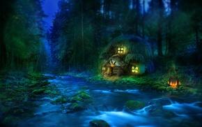 fantasy, river, forest, lodge