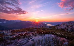 sky, landscape, mountain, nature, sunset