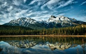лес, озеро, облака, отражение, горы, природа