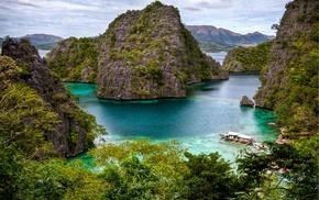природа, Горы, скалы, река, деревья
