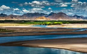 river, China, mountain, nature, light