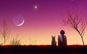 landscape, art, stars, anime, sunset