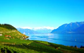 природа, небо, озеро, трава, Австрия, горы