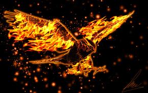 горящий, крылья, орел, полёт, 3d
