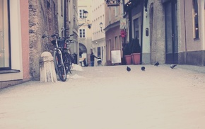 bicycle, houses, street, cities, city
