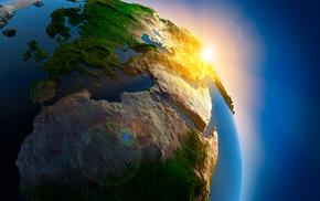 горы, реки, океан, Планета земля, небо, космос