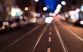motion blur, city, highlights, bokeh, street