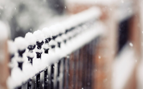 stunner, fence, snowflakes, winter