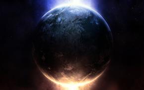 звезды, земля, планета, свет, огонь, earth