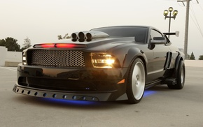 cars, headlights, neon, Ford Mustang, tuning