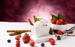 трубочки, ягоды, Мороженое, вкусно, черника, малина