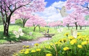 art, creek, spring, sakura, bridge