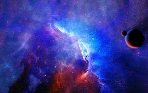 planet, stars, space, nebula