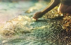 splash, sea, girl, stunner, hands