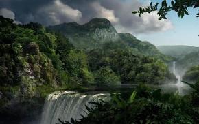 водопад, горы, Природа, деревья, облака, небо