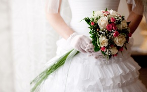 stunner, roses, bouquet, dress