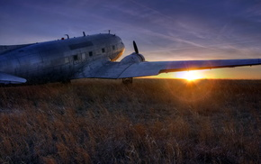 landscape, airplane, aircraft, sunset