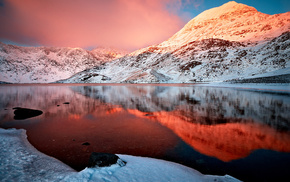 winter, snow, clouds, sky, reflection