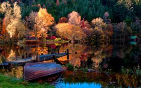 boat, landscape, autumn, houses, nature