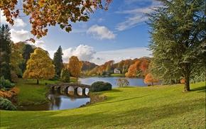 landscape, autumn, England, bridge, trees