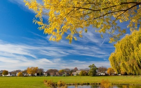 pond, sky, village, grassland, autumn
