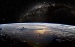 планета, Земля, звезды, атмосфера, космос