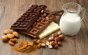 молоко, миндаль, Сладкое, фундук, вкусно, шоколад