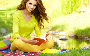book, sit, girl, girls, haired